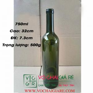 chai thủy tinh rượu vang 750ml - cao 32cm